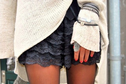 Big Sweater. Lace Shorts. Lots of Jewelry