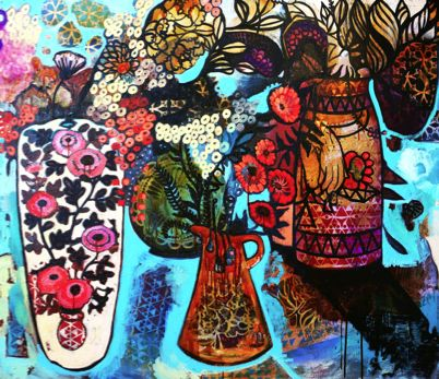 """SOLD """"A Floral Festoon with Vases"""" by Sarah Hickey www.tuskgallery.com.au"""