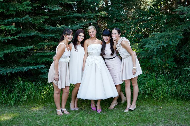 DIY Alberta Wedding from Debbie Wong Photography. Neutral palette for bridal party.  Read more - http://www.stylemepretty.com/canada-weddings/2013/09/11/diy-alberta-wedding-from-debbie-wong-photography/