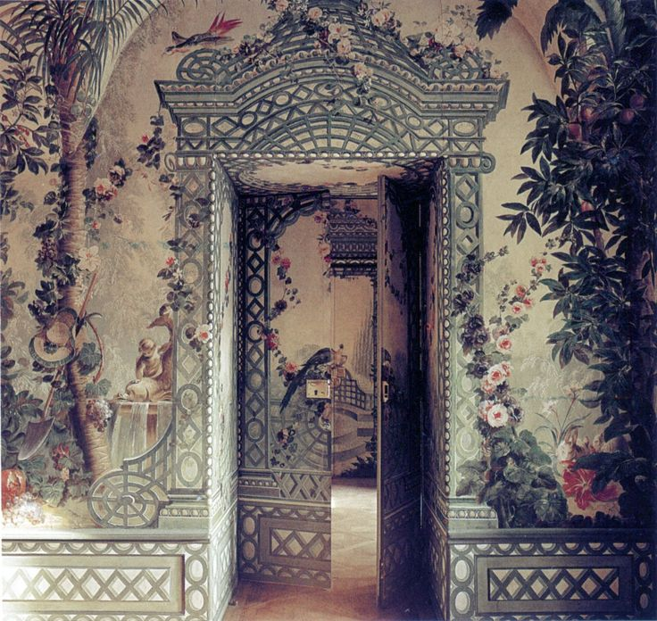 The Goess Apartment, a jewel of the Schonbrunn Palace and Park in Vienna, Austria. The exotic landscapes and baroque gardens were hand painted by artist Johan Bergl, commissioned by the Empress Maria Theresa (Marie Antoinette's mother) to serve as her summer apartment