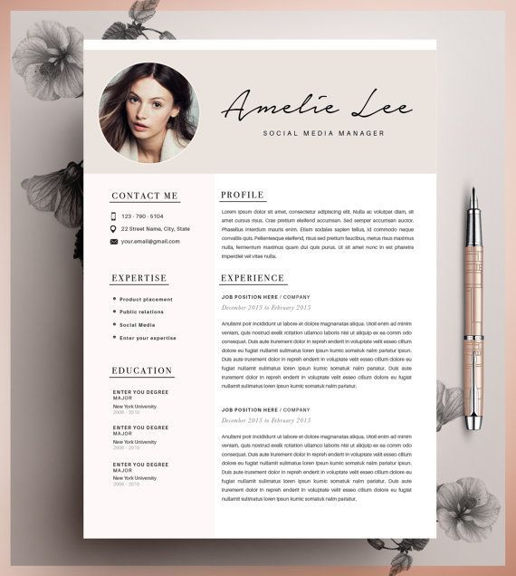 professional resume template cover letter for ms word modern cv design instant digital download a4 us letter buy one get one free - Fashion Resume Templates