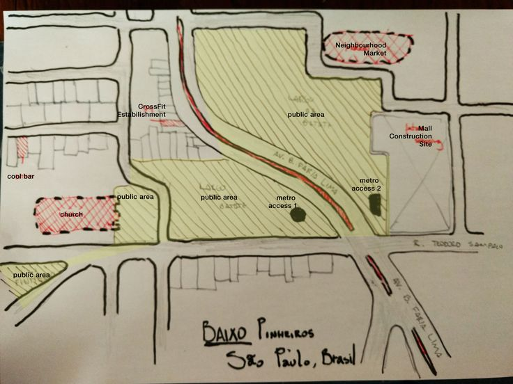 """Week 1 Exercise for edX course - """"Dutch Urbanism"""" My name is Rafael Marengoni, i am a architecture and urbanism student from Brazil. This is a mental map of """"Largo da Batata"""" in São Paulo, Brasil."""