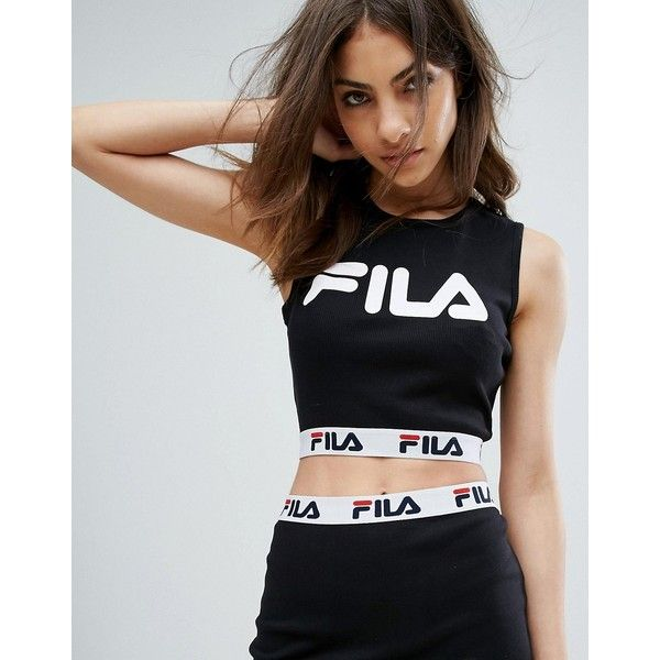 Fila Sleeveless Crop Top With Front Logo And Tape Detail In Rib Co-Ord ($38) ❤ liked on Polyvore featuring tops, t-shirts, black, cropped tops, polo crop top, logo t shirts, polo tees and tall tees