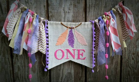 Soft blush hues and lilac glitter accents make up this unique dreamcatcher highchair banner. Can be made for any age & used as a high chair banner or wall decoration. Each banner is custom made just for you! Pennant measures approx 6x9 with 6 inches of designer trims on each side of the pennant. The twine measures approx 72 inches.  If you would like this banner in different colors please specify upon check out.  Hand-Tied Fabric, Burlap and Ribbon Garland makes an adorable decoration for a…