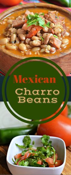 Mexican Charro Beans Recipe - these are delicious and a great side dish for Mexican foods and to serve at #CincoDeMayo and other fiestas.