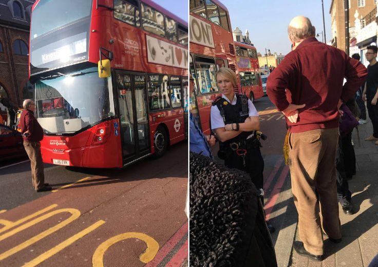 Разозленный из-за закрытия его остановки пешеход, 20 минут не давал автобусу сдвинуться с места
