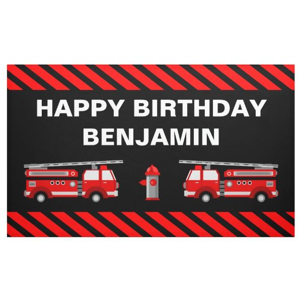 Fire Truck Birthday Party Banner Zazzle Com With Images