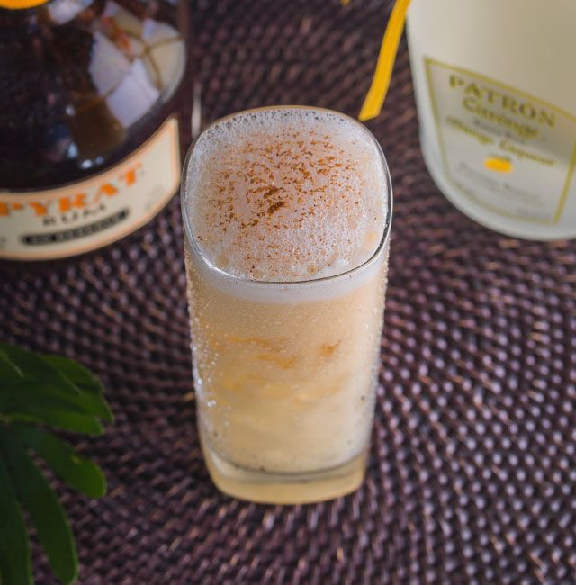 Enjoy Mango Painkiller, a cocktail made with Citrónge Mango.  1 oz	Patrón Citrónge Mango 1 oz	Pyrat Rum 2 oz	Pineapple juice .5 oz	Orange juice .5 oz	Coconut cream +	Nutmeg for garnish