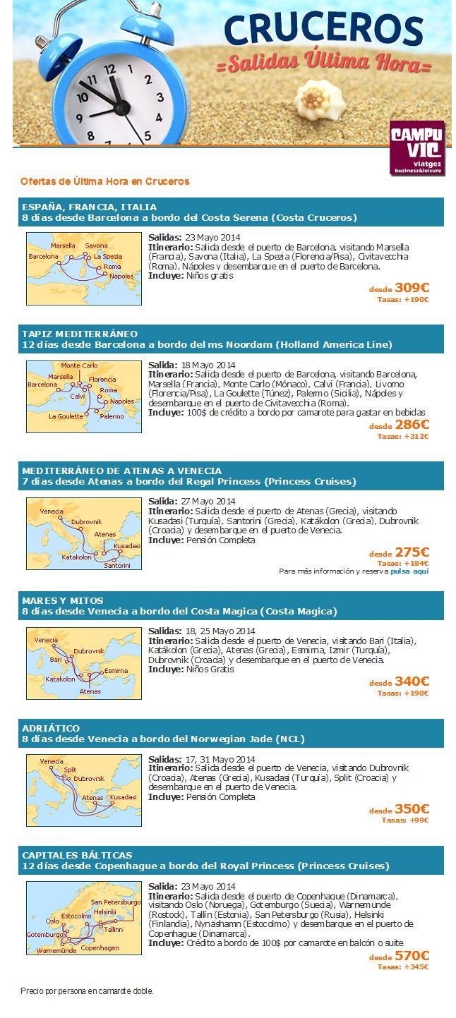 #cruceros #ultimominuto #lowcost #oportunidad #viajes   APROFITA ELS PREUS D'ÚLTIM MINUT.  http://campuvic.traveltool.es/cruceros/nicho.aspx?codNicho=62  -------------  APROVECHA LOS PRECIOS DE ULTIMO MINUTO. http://campuvic.traveltool.es/cruceros/nicho.aspx?codNicho=62