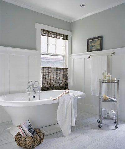 vintage tub... this is lovely: Bathroom Design, Tubs, Vintage Bathroom, Colors, Grey Wall, Bathroom Ideas, White Bathroom, Grey Bathroom, Gray Wall