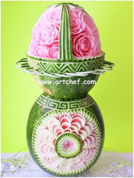 Artistically Carved Watermelon