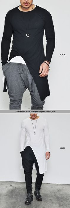 Nice Teen outfit  Tops :: Tees :: Avant-garde Edge Unbalance Long-Tee 138 - Mens Fashion Clothing ... Check more at http://24myshop.cf/fashion-style/teen-outfit-tops-tees-avant-garde-edge-unbalance-long-tee-138-mens-fashion-clothing/
