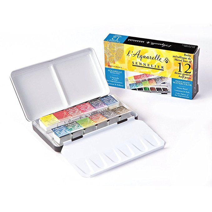 Amazon Com Sennelier Watercolor Metal Box 12 Tube Set Sennelier