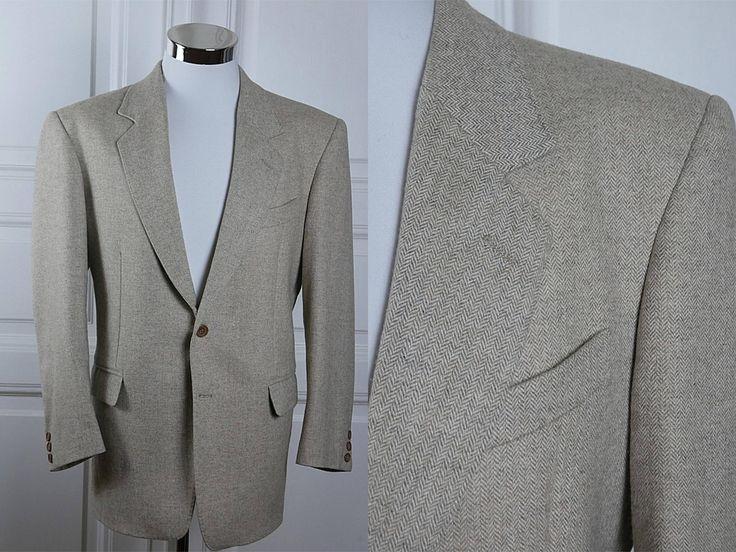 Italian Vintage Herringbone Tweed Blazer, Beige Virgin Wool European Sport Coat Jacket: Size 38S US/UK