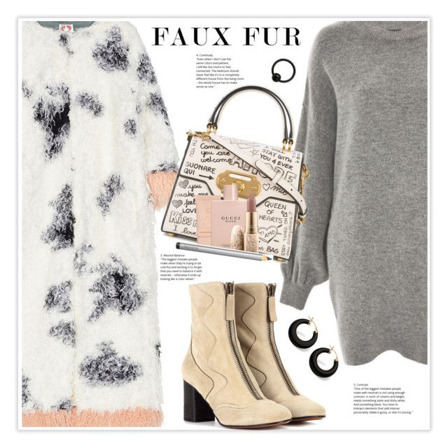 """Keep it Cozy: Fuzzy Coats"" by stranjakivana ❤ liked on Polyvore featuring Treasure & Bond, Shrimps, Chloé, Dolce&Gabbana, Maybelline, Gucci, MAC Cosmetics, Palm Beach Jewelry, Laura Mercier and polyvoreeditorial"
