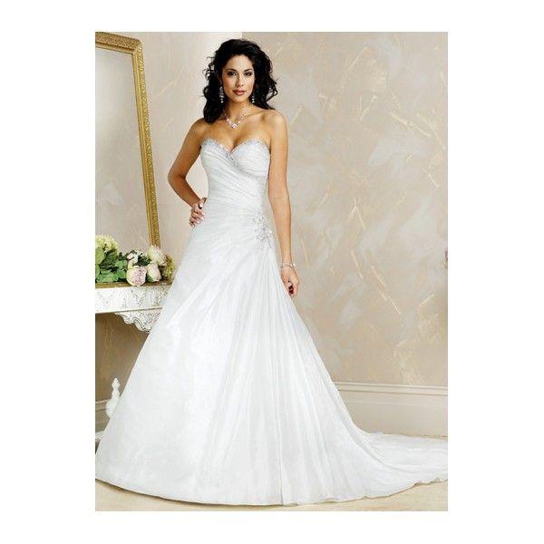 Side-Draped Beaded Sweetheart A-line Satin Wedding Dress