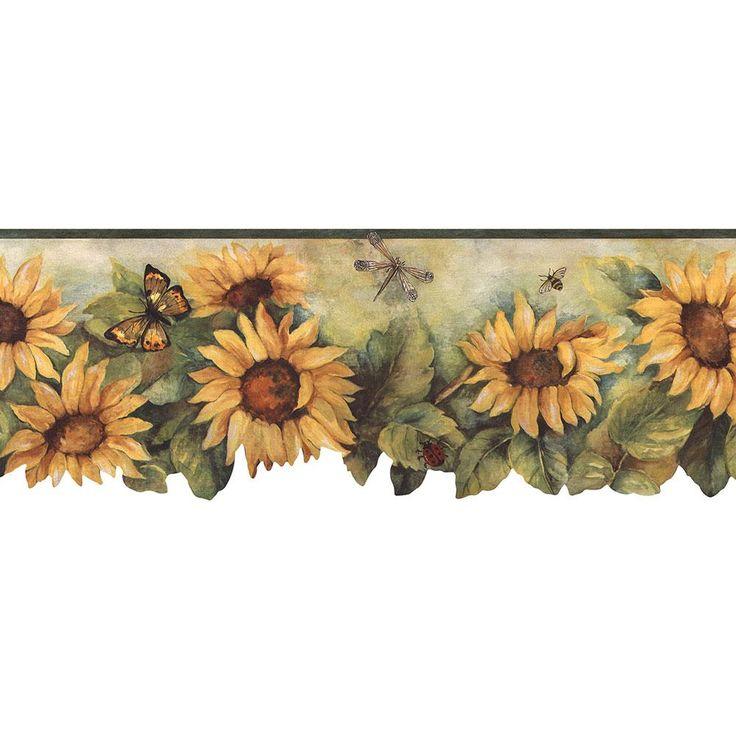 Norwall Die Cut Sunflower Wallpaper Border, Yellow/ Green