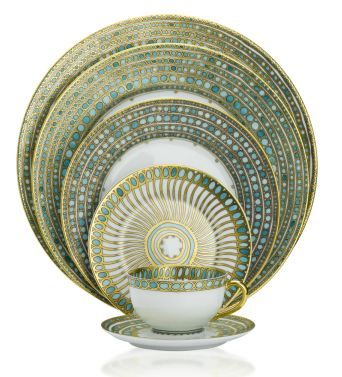 Haviland Syracuse Dinnerware in white, teal and gold