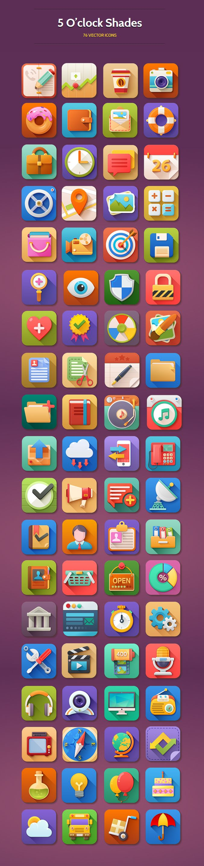 5 o'clock - 76 icons by pixelkit #icon #design #free #download #freebie