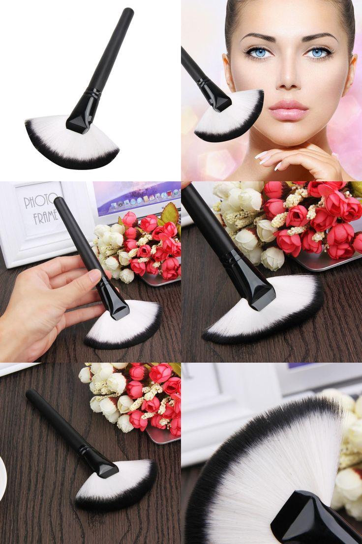 [Visit to Buy] 1PC Soft Imported Nylon Hair Large Fan Makeup Brush Blush Powder Foundation Make Up Tool Big Fan Shape Cosmetics Brush   #Advertisement
