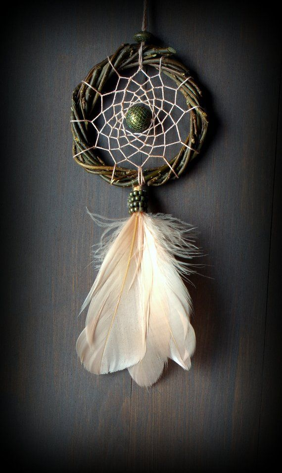 Large Dream Catcher Handmade Feathers Native American Car Home Decor Gift Beige