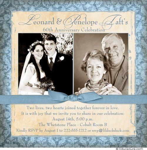Wedding Reception Ideas For Older Couples: 60th Anniversary Invitation