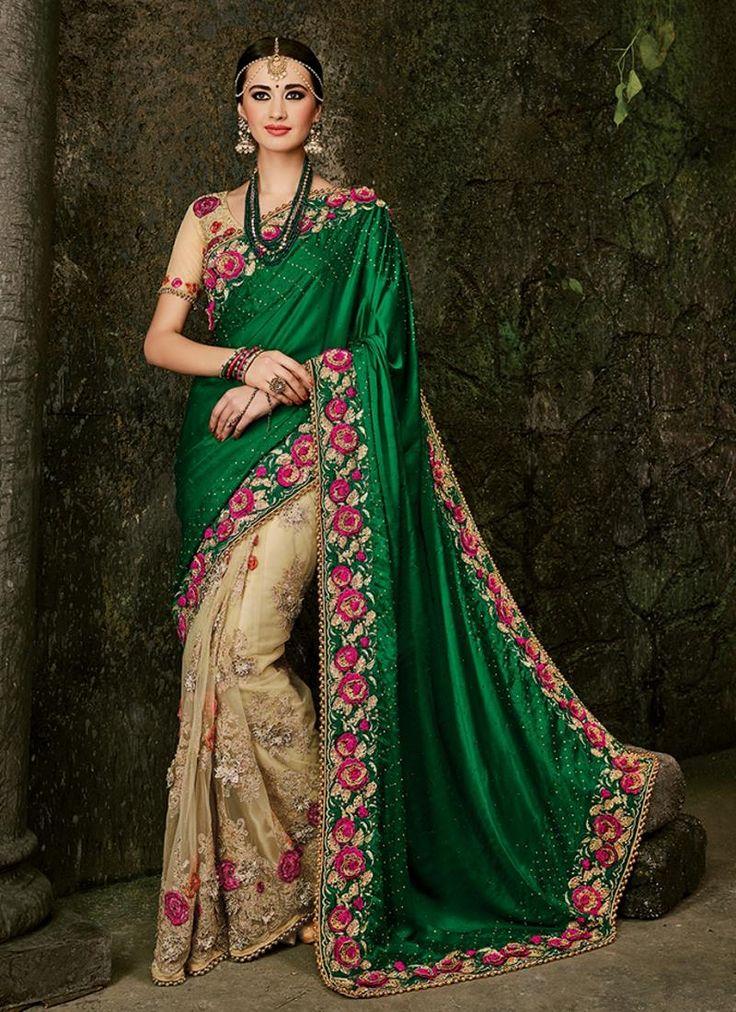 Brilliant Embroidered Work Green Designer Bridal Sarees