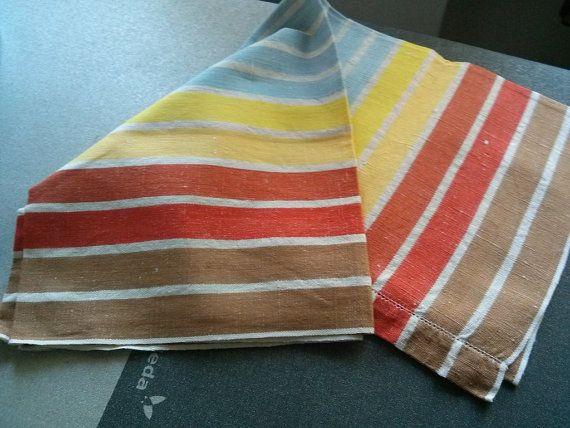 asciugamano lino a righe Vintage  anno 1970