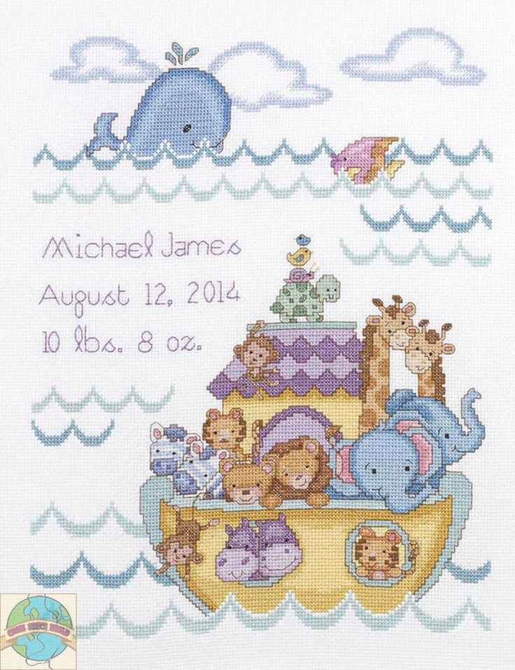 Cross Stitch Kit ~ Plaid-Bucilla Noah s Ark Animals Baby Birth Record #45940