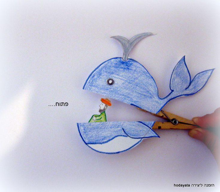 jonah and the whale - craft for kids יונה במעי הדגה (יונה והלווייתן) יצירה לילדים מאטב