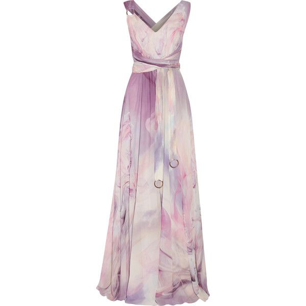 Roberto Cavalli Pleated printed silk-chiffon gown ($985) ❤ liked on Polyvore featuring dresses, gowns, multi, pink evening gowns, embellished gown, wrap dress, petite evening gowns and pink wrap dress