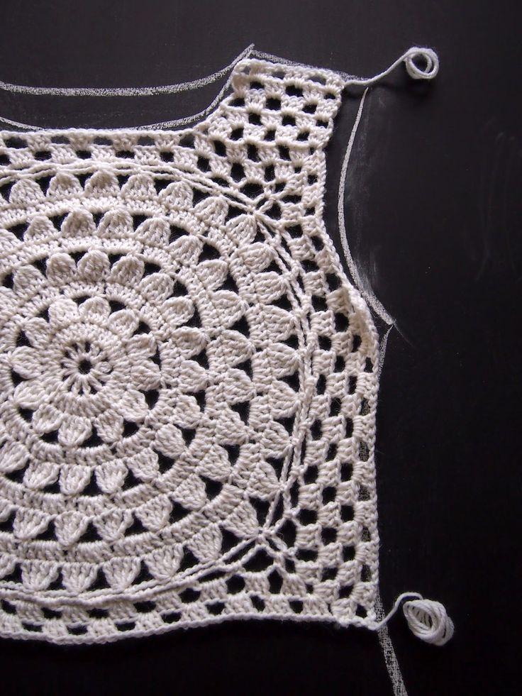 A total ah ha moment, draw pattern of sweater on paper, and then crochet around medallion to fit sweater. VMSomⒶ KOPPA: Valkoinen kukkaympyräpaita - variaatio