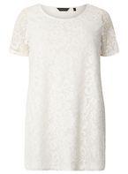 Womens DP Curve Plus Size Ivory Lace T-Shirt- White