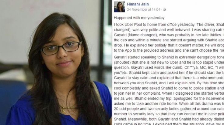 A womans unusual experience with an Uber cab driver is going viral