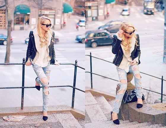 Bikbok Jeans, Nly Shoes Pointy Pump, Zara Leather Jacket, Zara Grey Jacket, Sheinside White Blouse