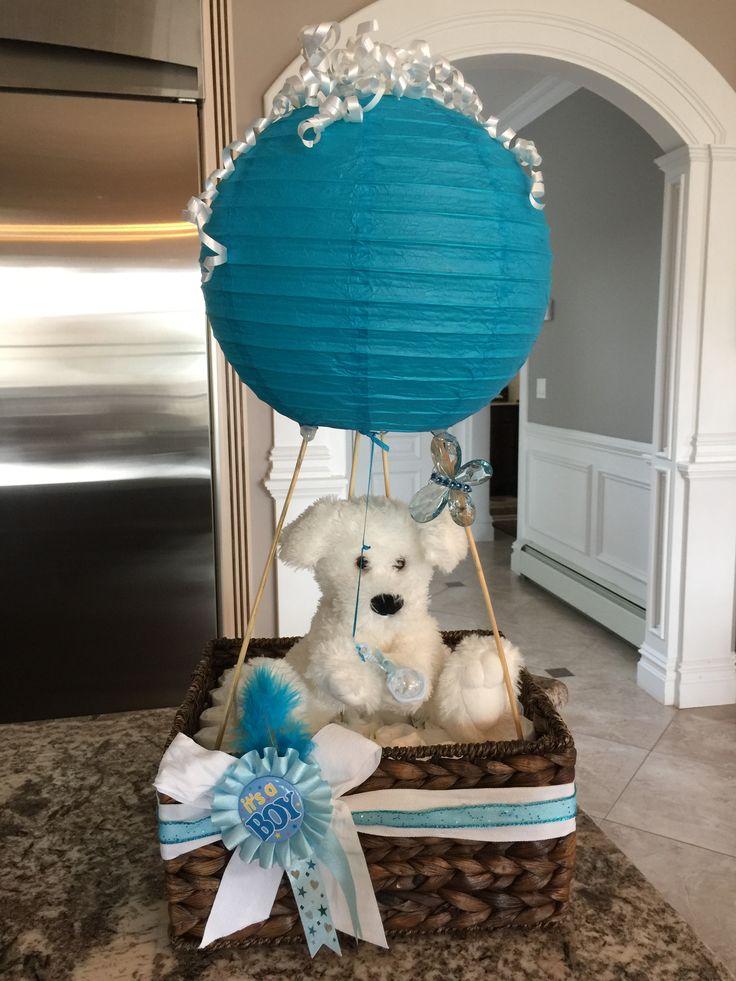 Puppy in hot air balloon diaper cake basket.. it's a boy diaper basket #decoracionbabyshowerboy