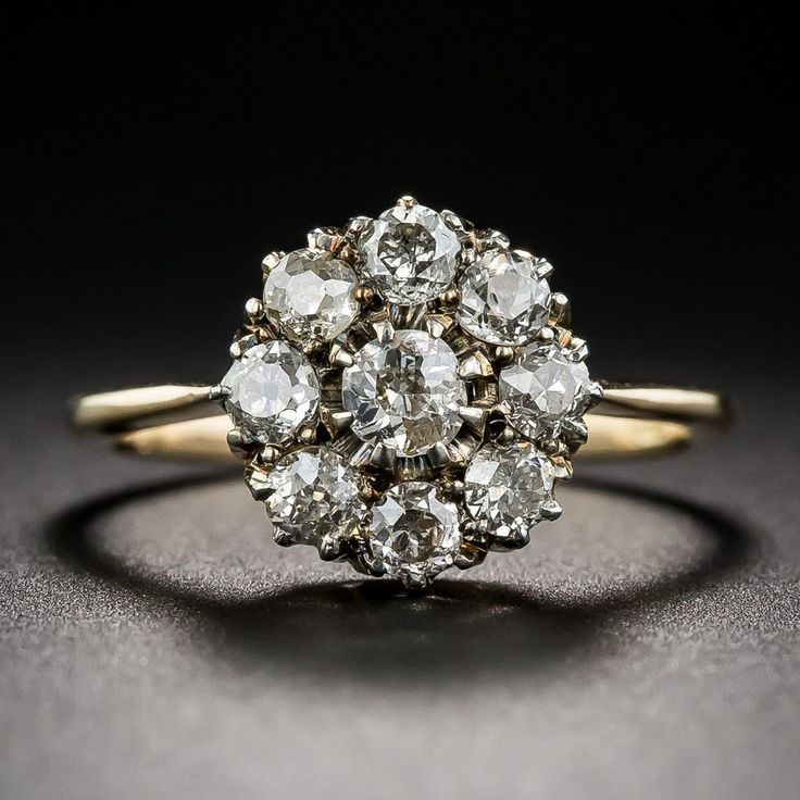 Victorian Diamond Cluster Ring - Vintage Diamond Engagement Rings - Vintage Engagement Rings