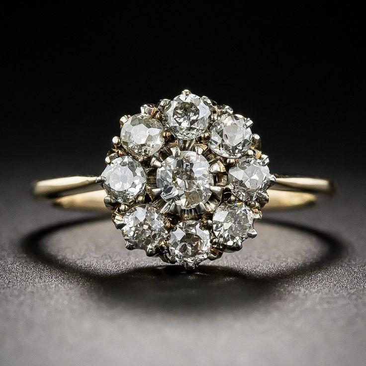 Victorian Diamond Cluster Ring - Vintage Diamond Engagement Rings - Vintage…