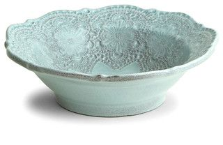 Merletto Aqua Cereal Bowl - transitional - dinnerware - by Bliss Home & Design.        Can u imagine eating cereal w this?