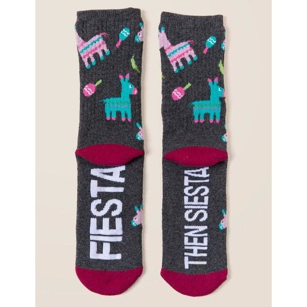 Fiesta Then Siesta Crew Socks - Charcoal ($12) ❤ liked on Polyvore featuring intimates, hosiery, socks, charcoal, multicolor socks, crew socks, multi color socks, patterned hosiery and multi colored socks