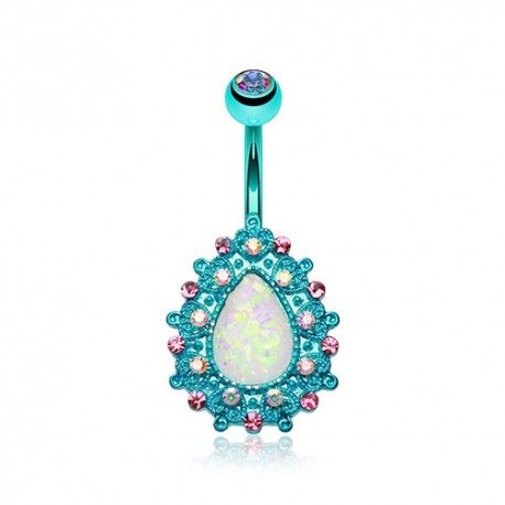 Piercing Nombril turquoise goutte d'Opale sertie de Cristaux https://piercing-pure.fr/p/514-piercing-nombril-turquoise-goutte-d-opale-sertie-de-cristaux.html #opale #piercingnombril #piercing #bijoux