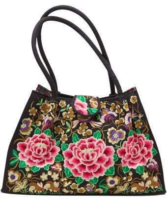 Channel the beauty of Sorrento's night gardens with this beautiful embroidered bag. Includes an internal zip pocket to keep your valuables safe. 28cm long x 45cm wide x 16cm deep. Handles: 58cm