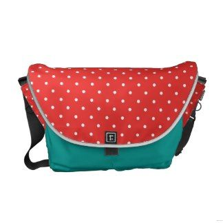 Poppy Red And White Polka Dots Messenger Bags