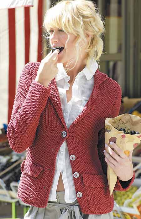 Free Pattern for moss stitch cardigan - has jacket details/structure