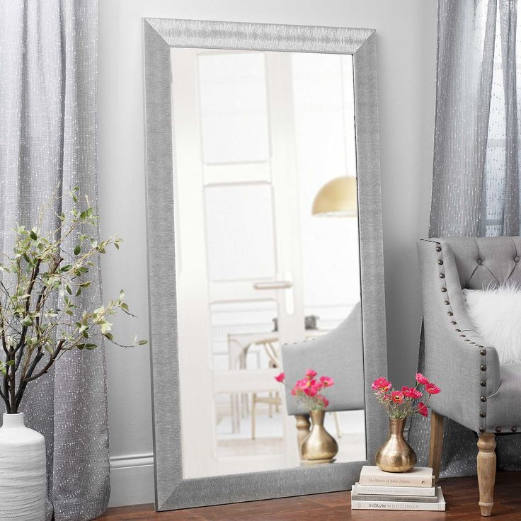 Textured Silver Framed Mirror, 37.5x67.5 in. | Kirklands ... on Floor Mirrors Decorative Kirklands id=16256