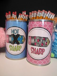 "Students can use the sharpened pencils and place broken ones in the ""not sharpened"". Students do not have to interrupt the class to sharpen a pencil."