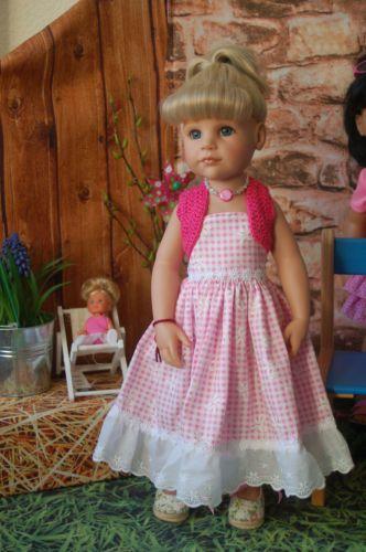 Puppenkleidung-2tlg-romantisches-rosa-Sommerkleid-Haekel-Bolero-50-cm-Stehpuppe