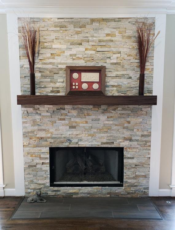 Walnut Modern Beam Mantel Black Walnut Mantel In 2020 Fireplace
