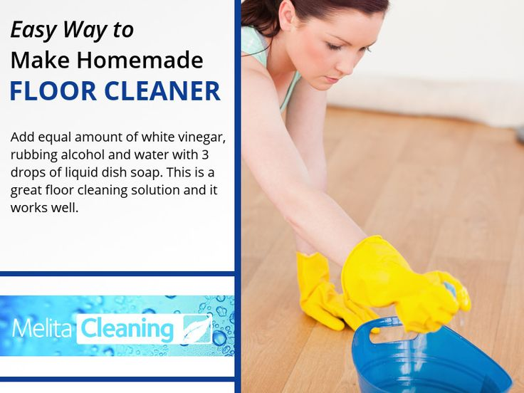 Easy Way to Make Homemade Floor Cleaner - Add equal amount of white vinegar, rubbing alcohol and water with 3 drops of liquid dish soap. This is a great floor cleaning solution and it works well.