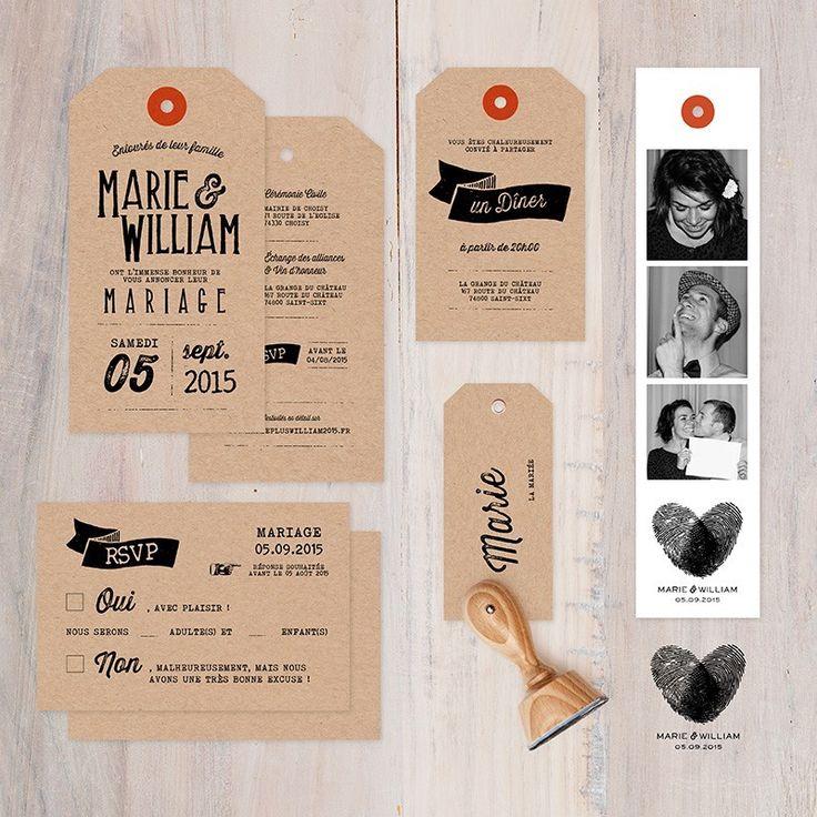 """Faire-part """"Label Kraft"""" - Monsieur + Madame Shop"""